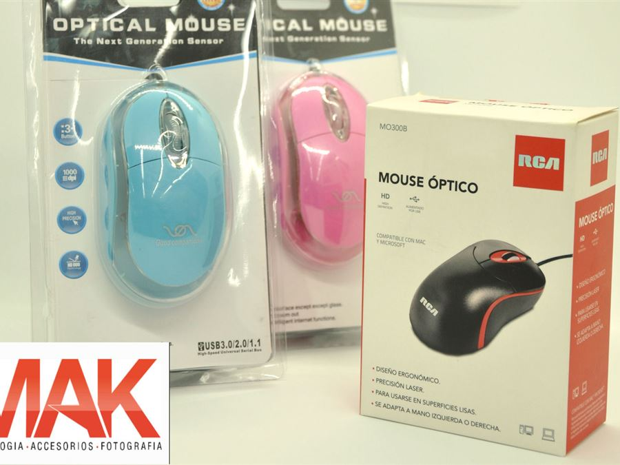Mouse - InfoGuia Traslasierra - Mouse con cable RCA  Optical Mouse colores